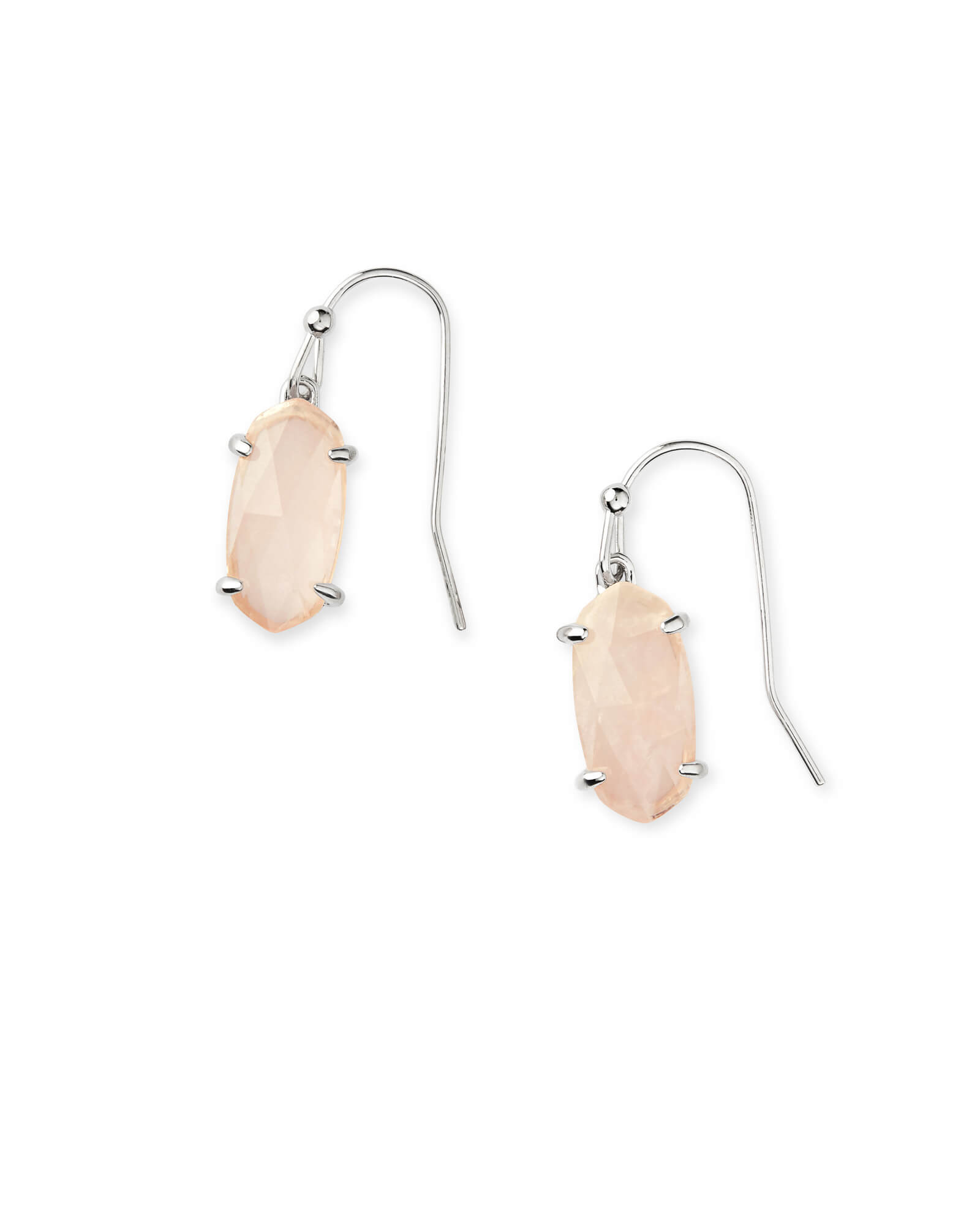 Lemmi Silver Drop Earrings in Rose Quartz