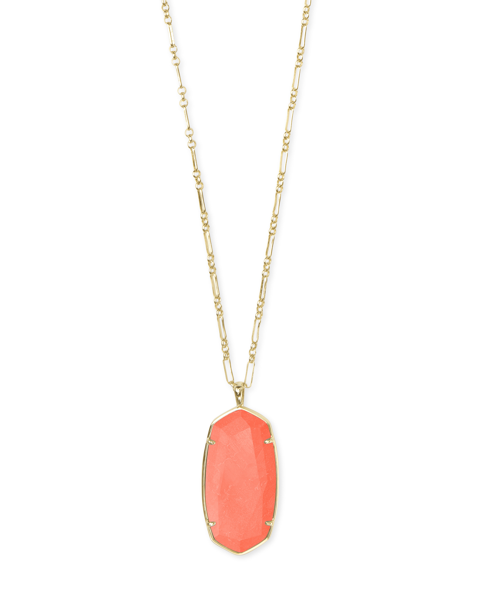 Faceted Reid Gold Long Pendant Necklace in Bright Coral Magnesite