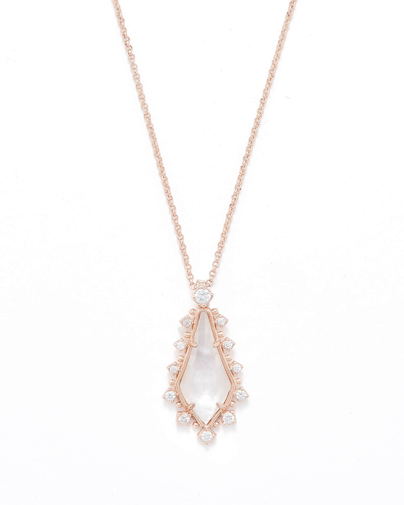 Shelly Long Pendant Necklace in Rose Gold