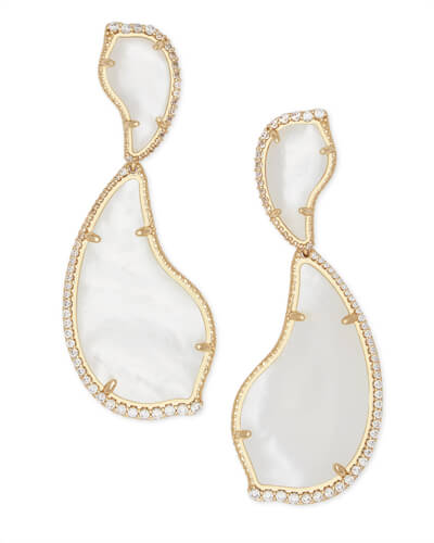 Teddi Gold Statement Earrings in Ivory Pearl