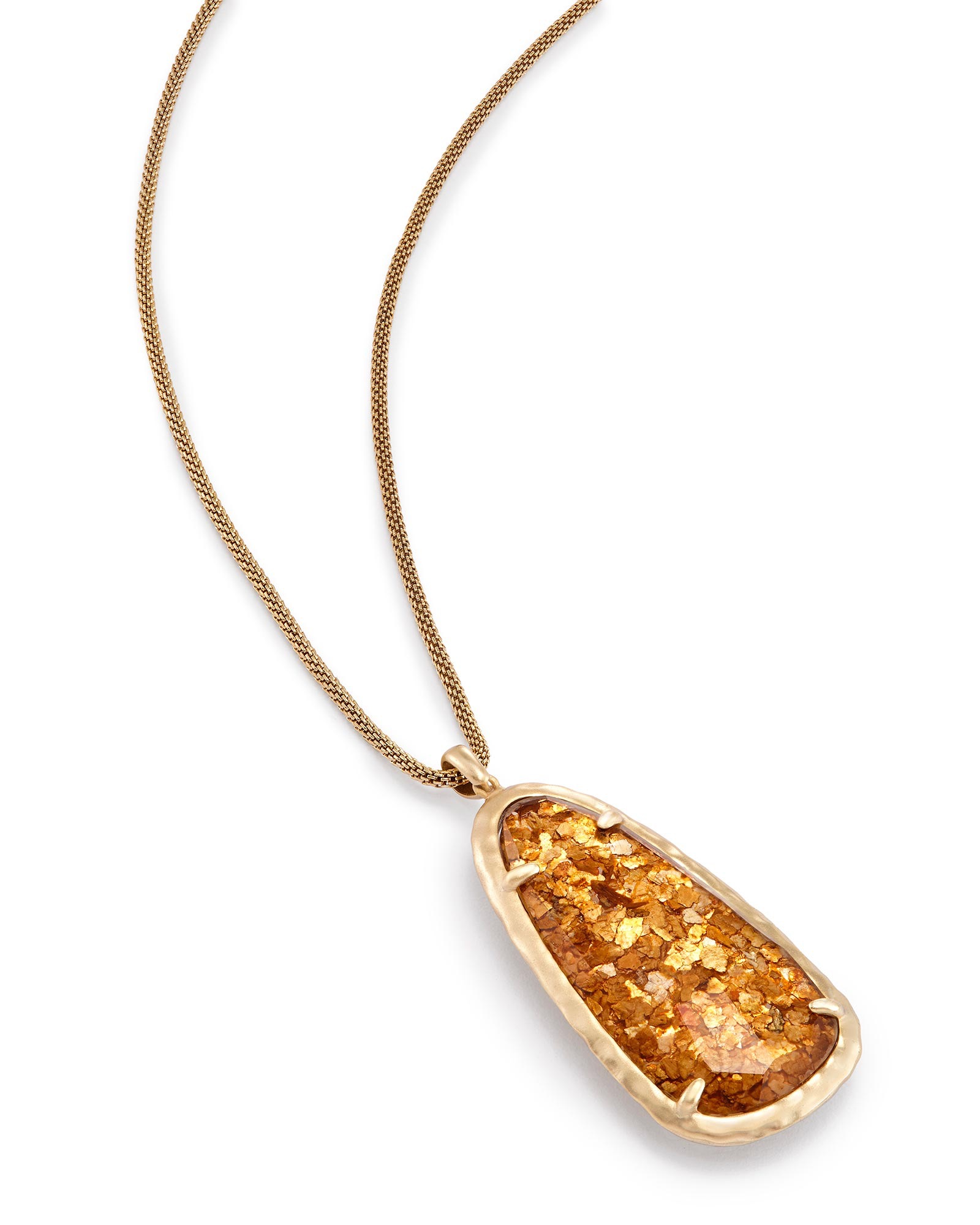 Saylor Long Pendant Necklace in Crushed Gold Mica
