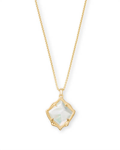Kacey Gold Long Pendant Necklace in Ivory Pearl