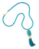 Tatiana Long Pendant Necklace in Bronze Veined Turquoise