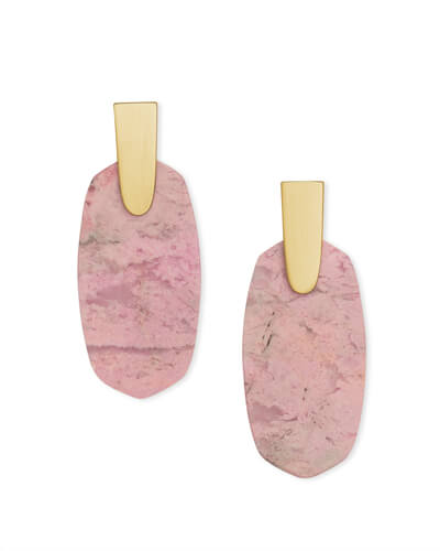 Aragon Gold Drop Earrings in Pink Rhodonite
