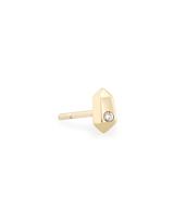 Archie 14K Yellow Gold Stud Earring in White Diamond