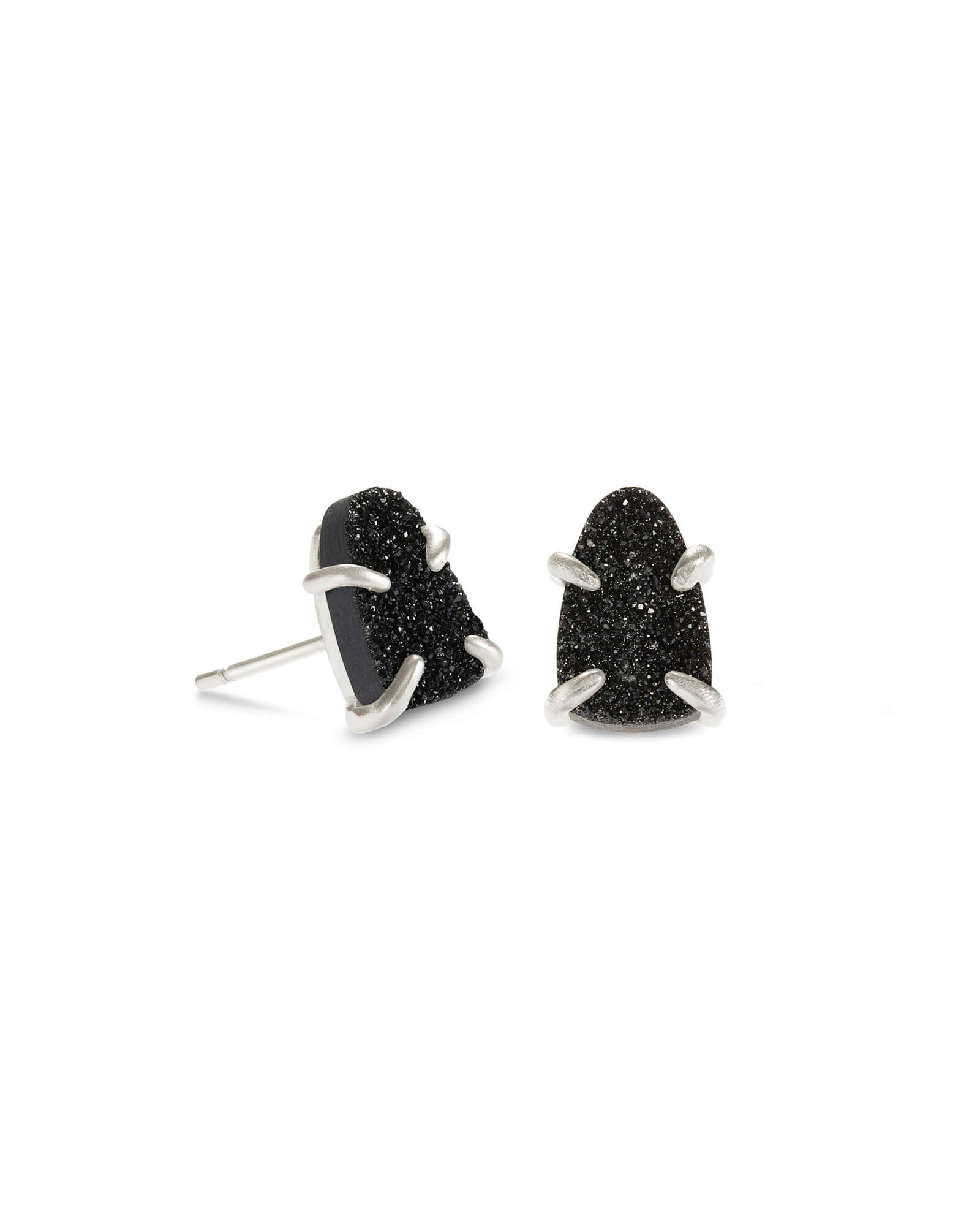 Harriett Silver Stud Earrings in Black Drusy