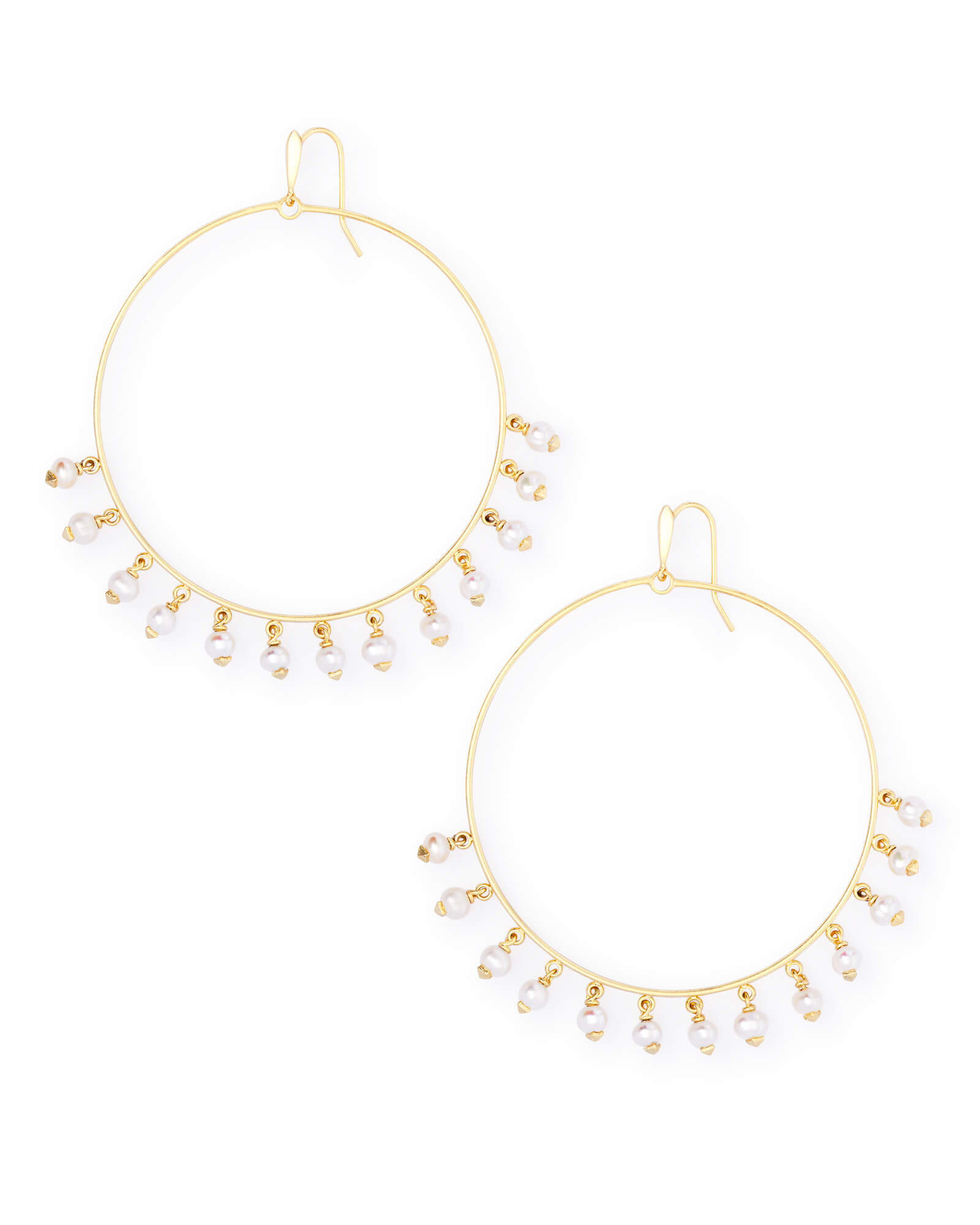Hilty Gold Hoop Earrings in Pearl