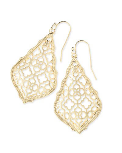 Addie Gold Drop Earrings in Gold Filigree
