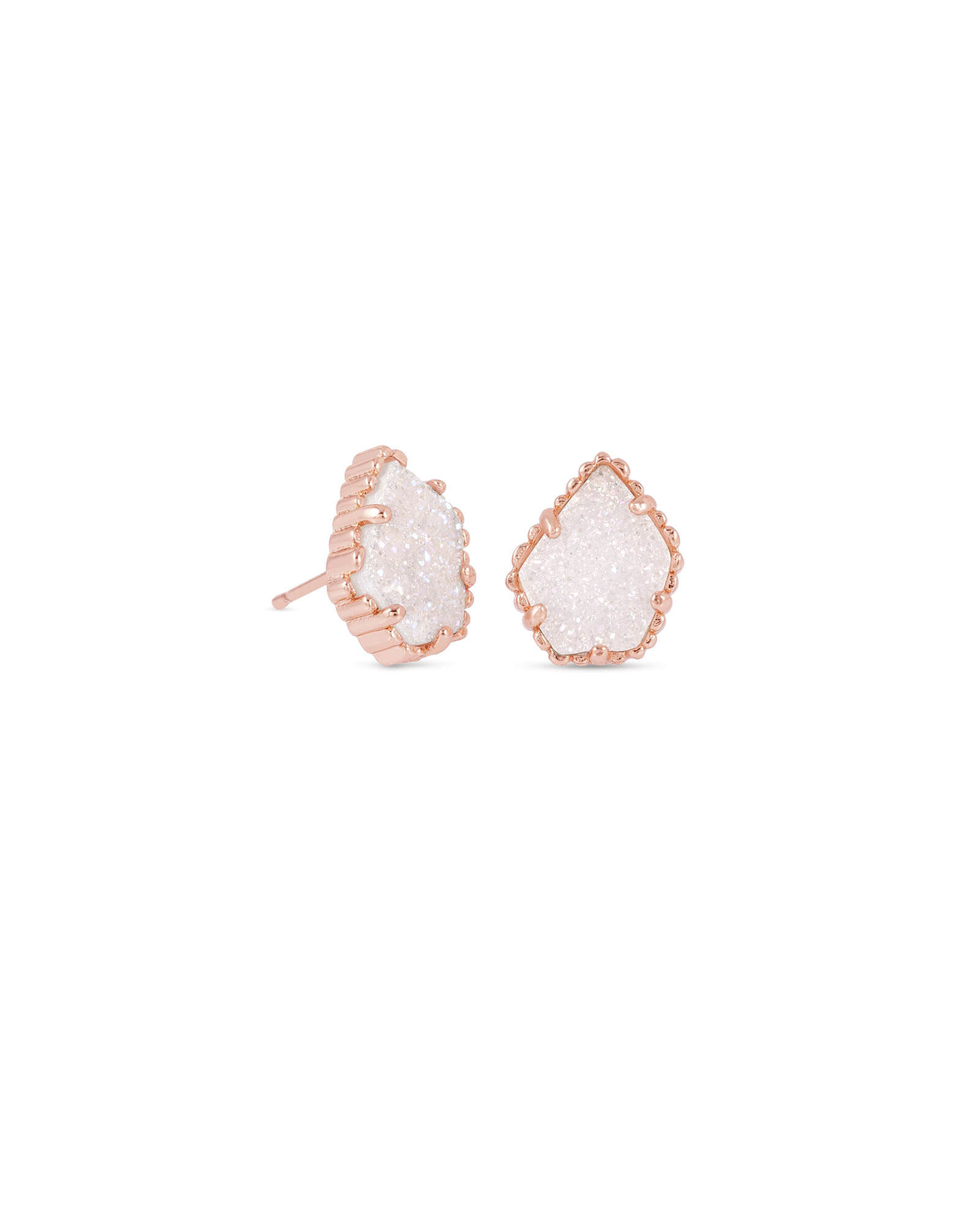 Tessa Rose Gold Stud Earrings in Iridescent Drusy