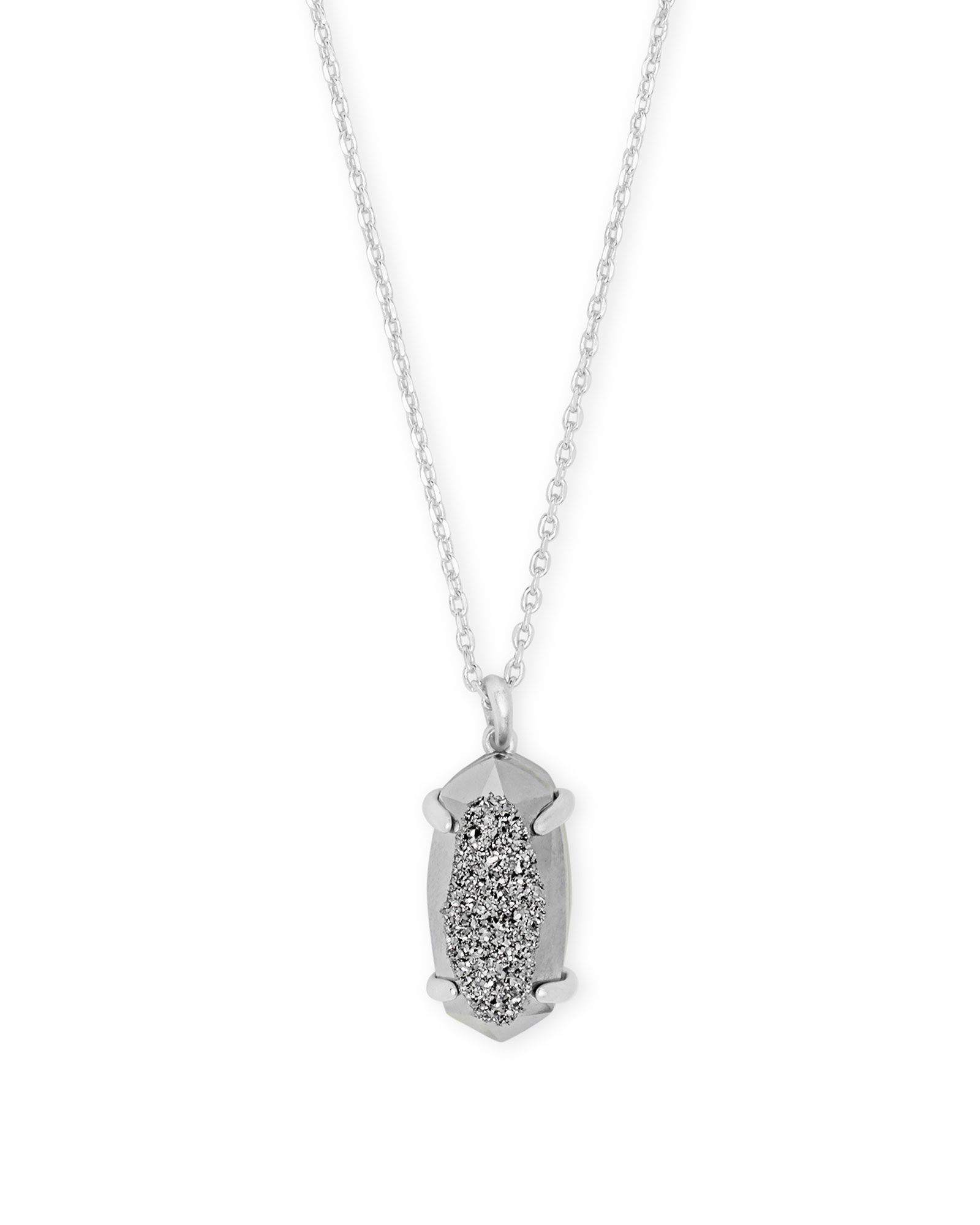 Harrison Silver Pendant Necklace In Platinum Drusy