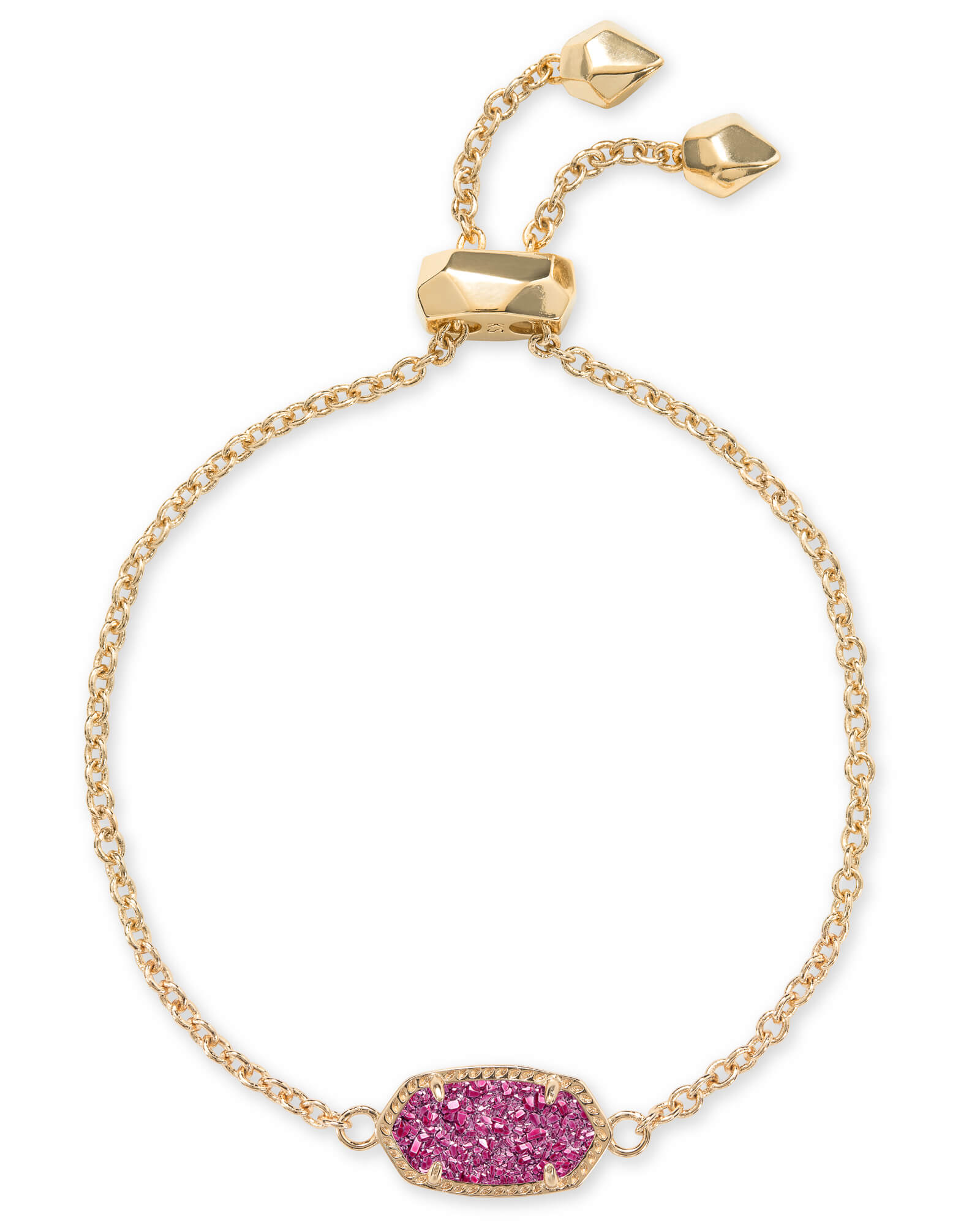 Elaina Gold Adjustable Chain Bracelet in Deep Fuchsia Drusy