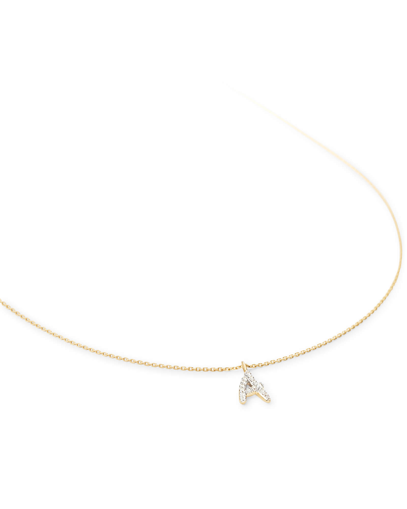 Diamond Letter Pendant Necklace in 14k Yellow Gold