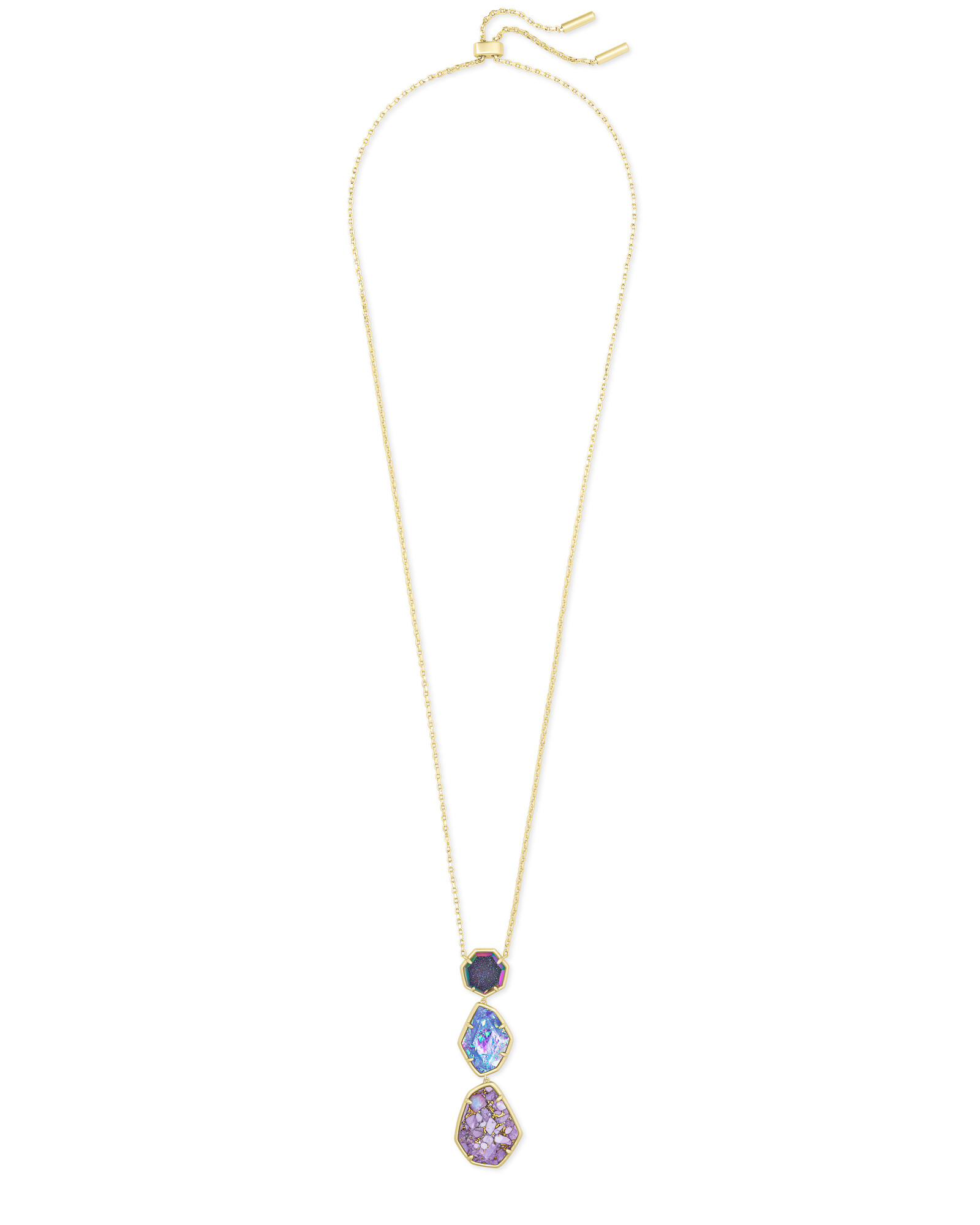 Nina Gold Long Pendant Necklace in Purple Mix