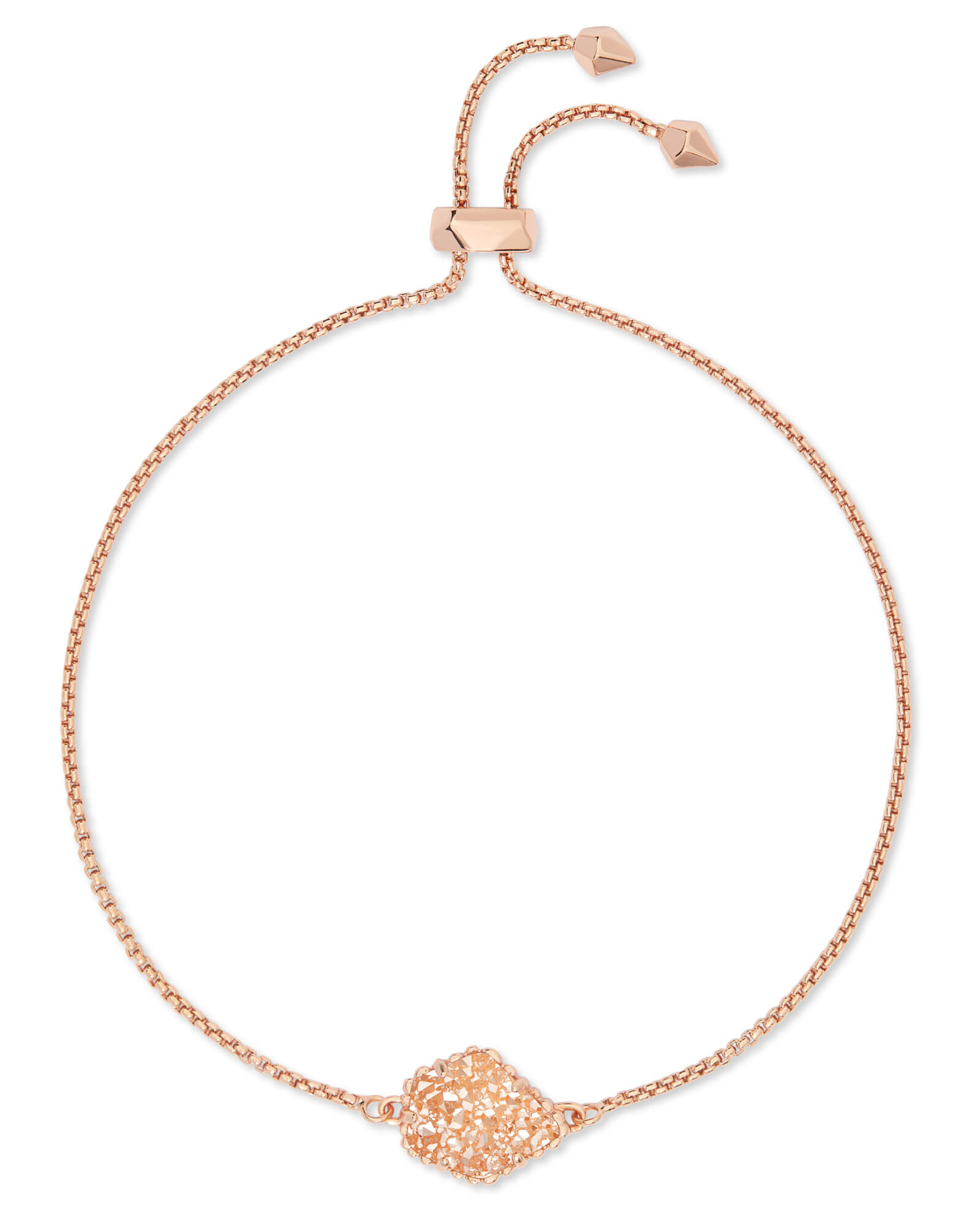 Theo Rose Gold Adjustable Chain Bracelet in Sand Drusy