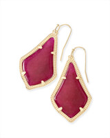 Alex Gold Drop Earrings in Maroon Jade