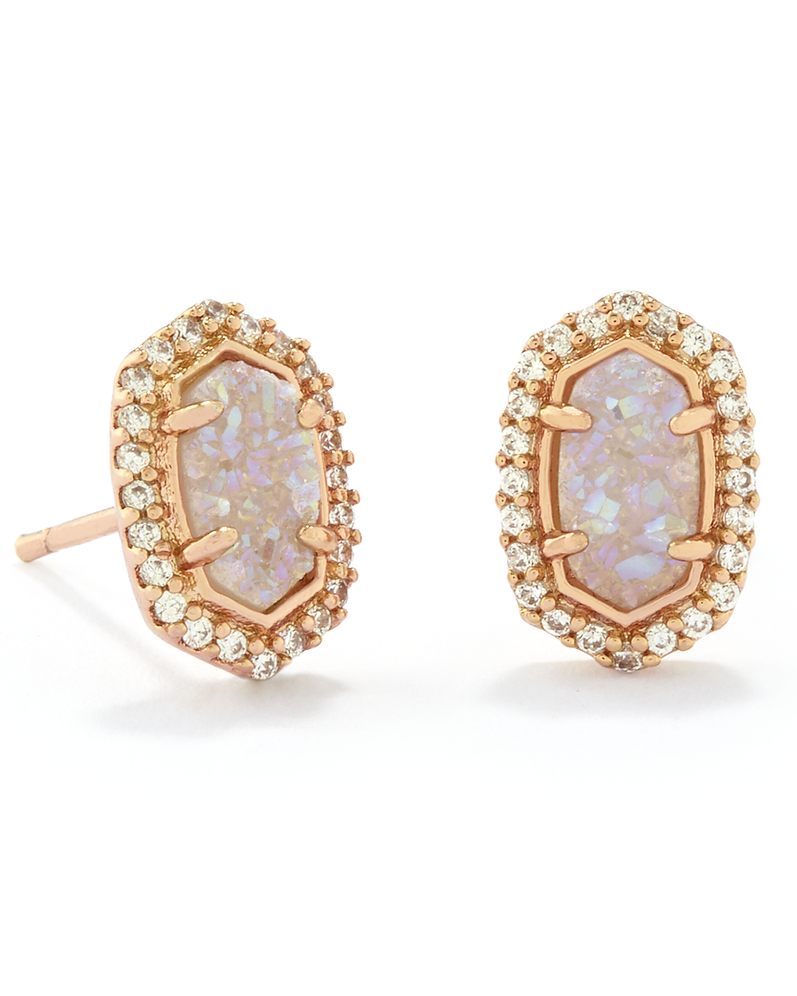 Cade Rose Gold Stud Earrings in Iridescent Drusy Kendra Scott