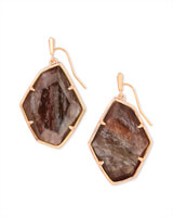 Dunn Rose Gold Drop Earrings in Sable Mica