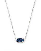 Elisa Silver Pendant Necklace in Indigo Blue Drusy