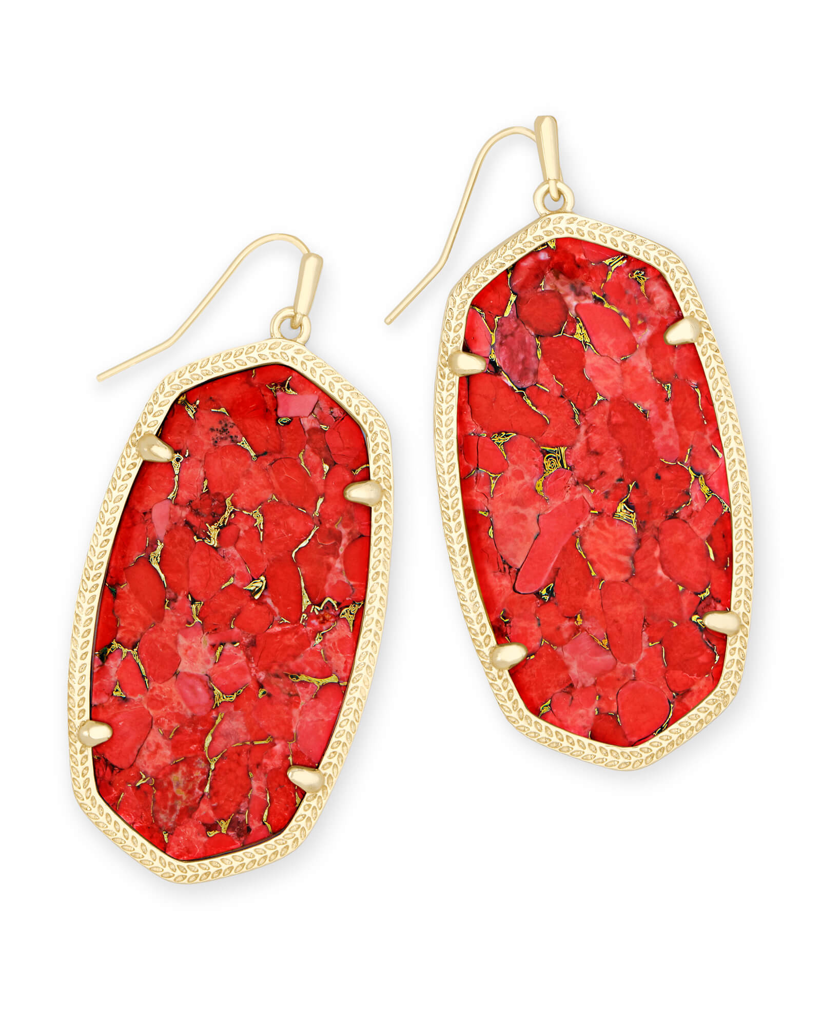 Danielle Gold Drop Earrings in Bronze Veined Red Magnesite
