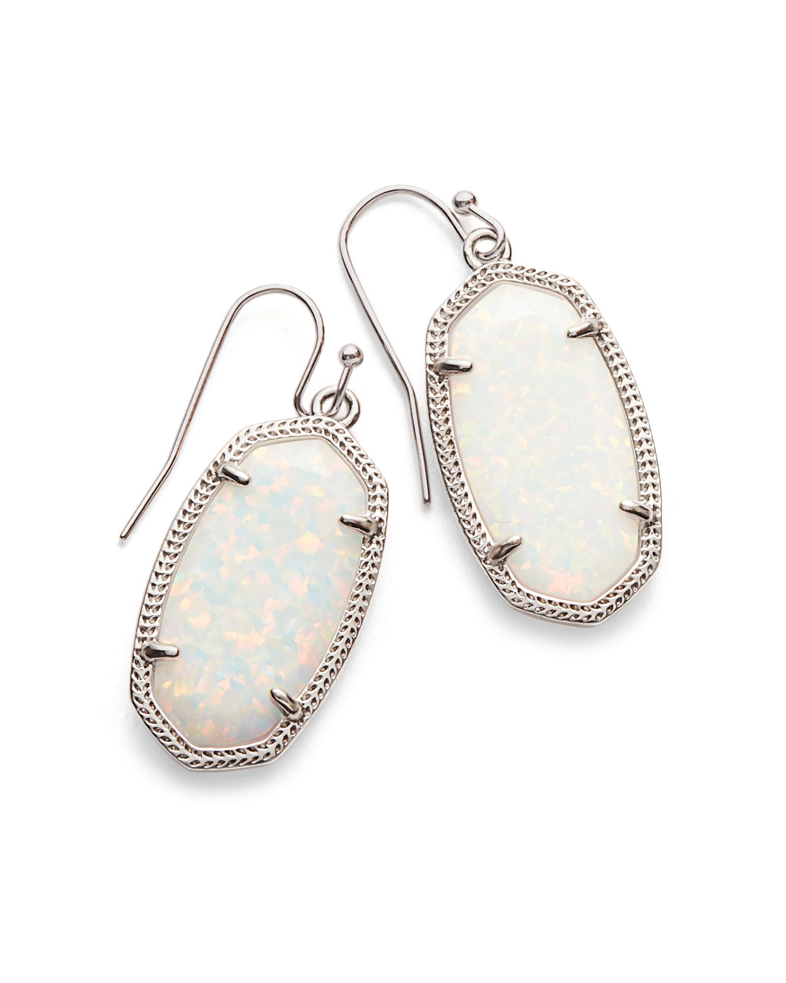 Dani Silver Drop Earrings in White Kyocera Opal