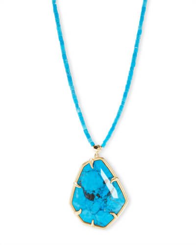 Beatrix Gold Long Pendant Necklace In Aqua Howlite