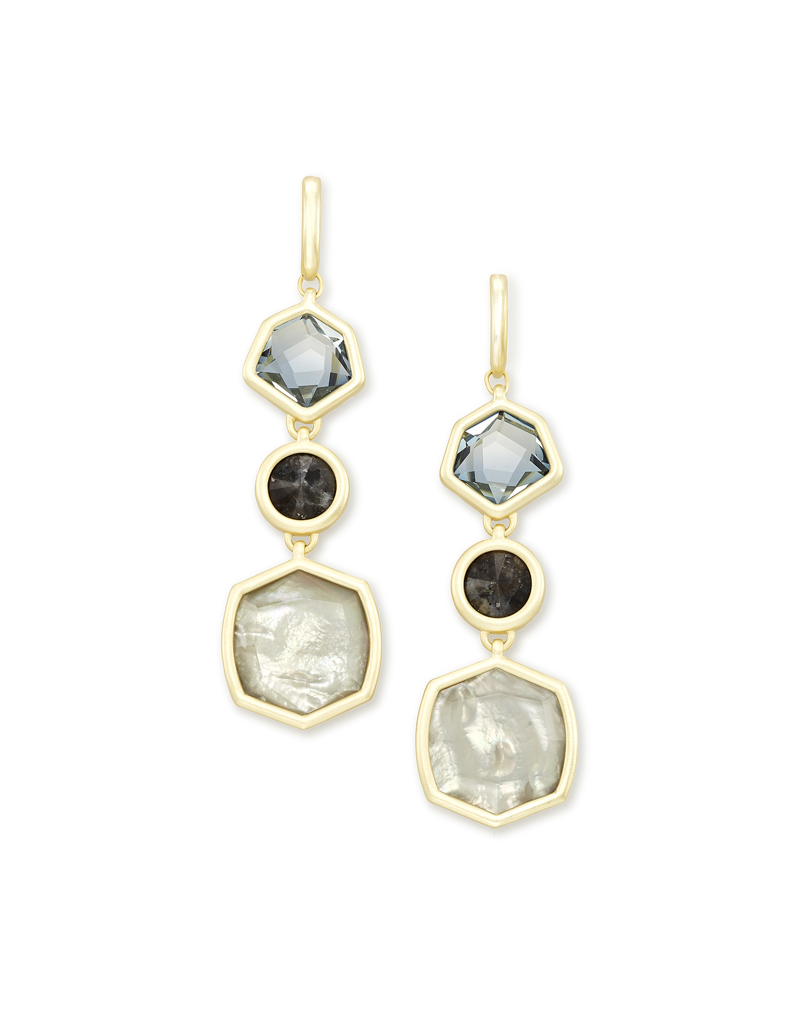 Natalia Gold Statement Earrings in Steel Gray Mix