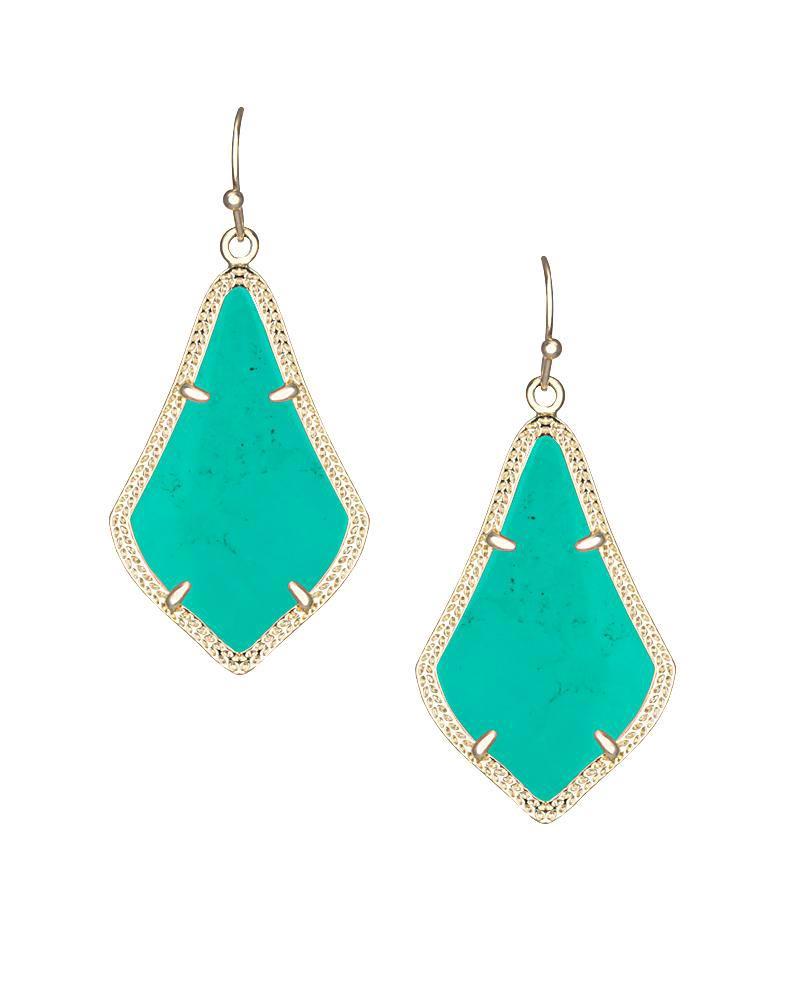 Best Alex Gold Drop Earrings in Teal Magnesite| Kendra Scott AY46