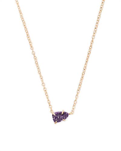 Helga Gold Pendant Necklace in Purple Drusy
