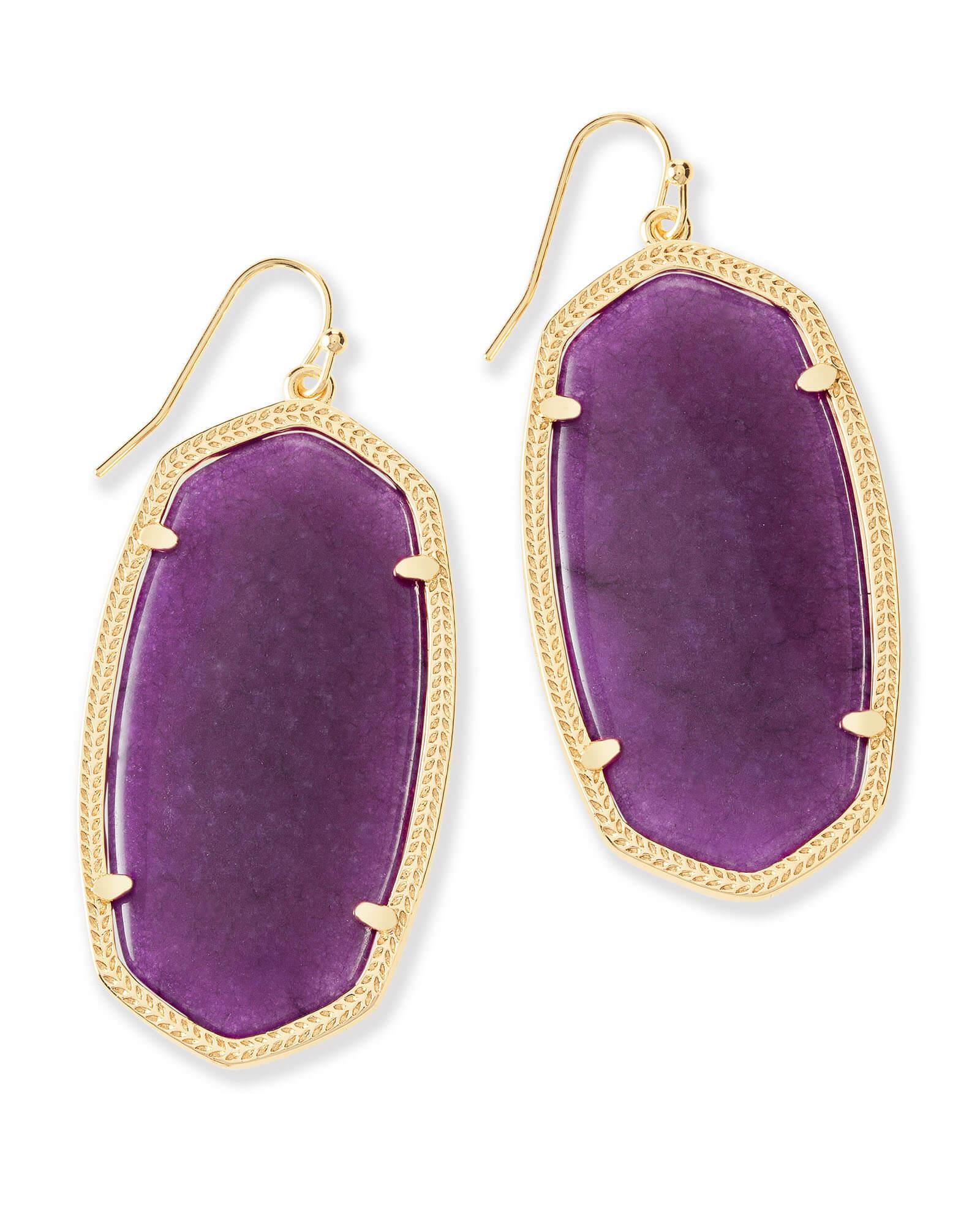 Danielle Earrings In Purple Jade