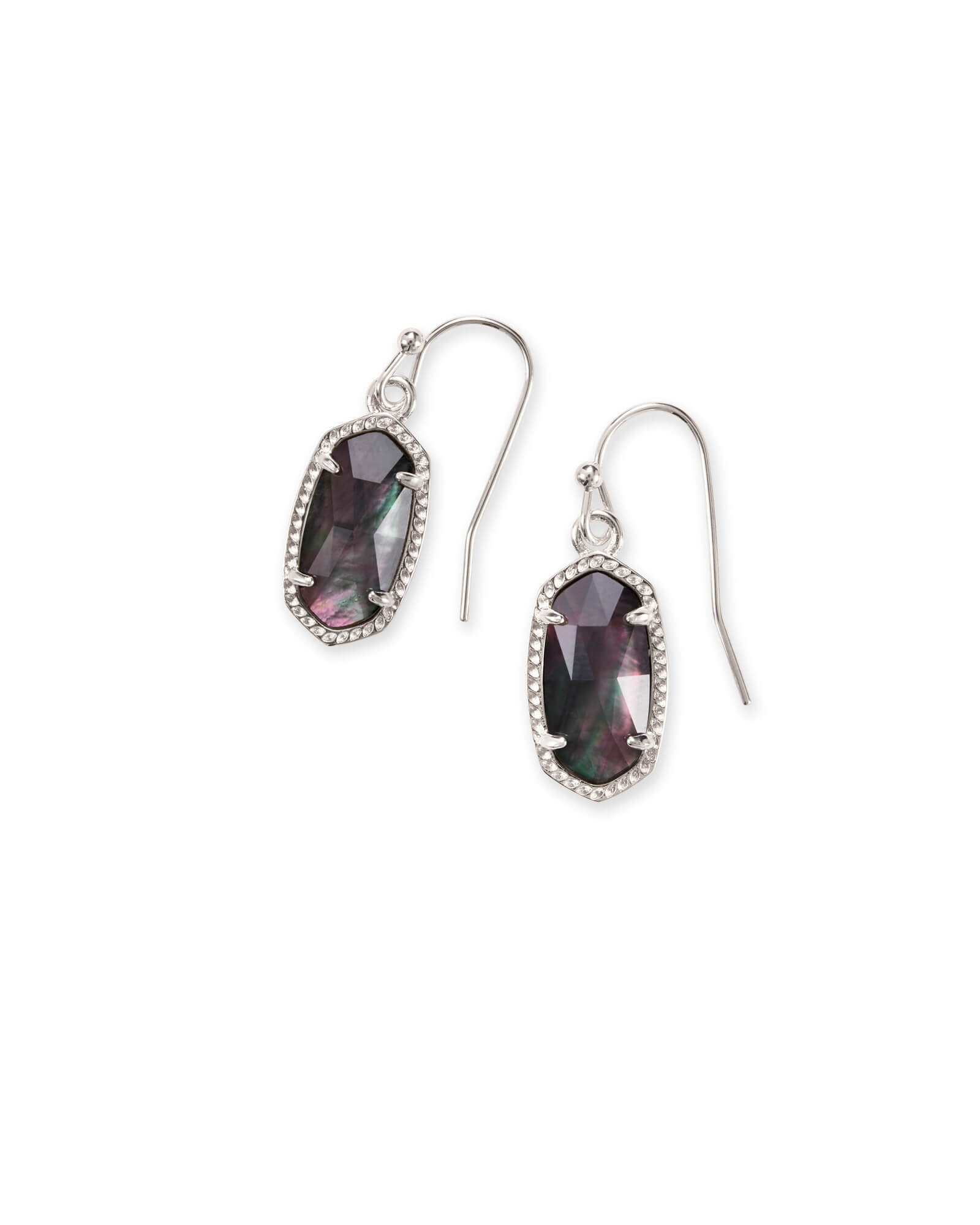Lee Silver Drop Earrings in Black Mother of Pearl