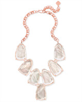 Harlow Rose Gold Statement Necklace in Suspended Ivory Pearl