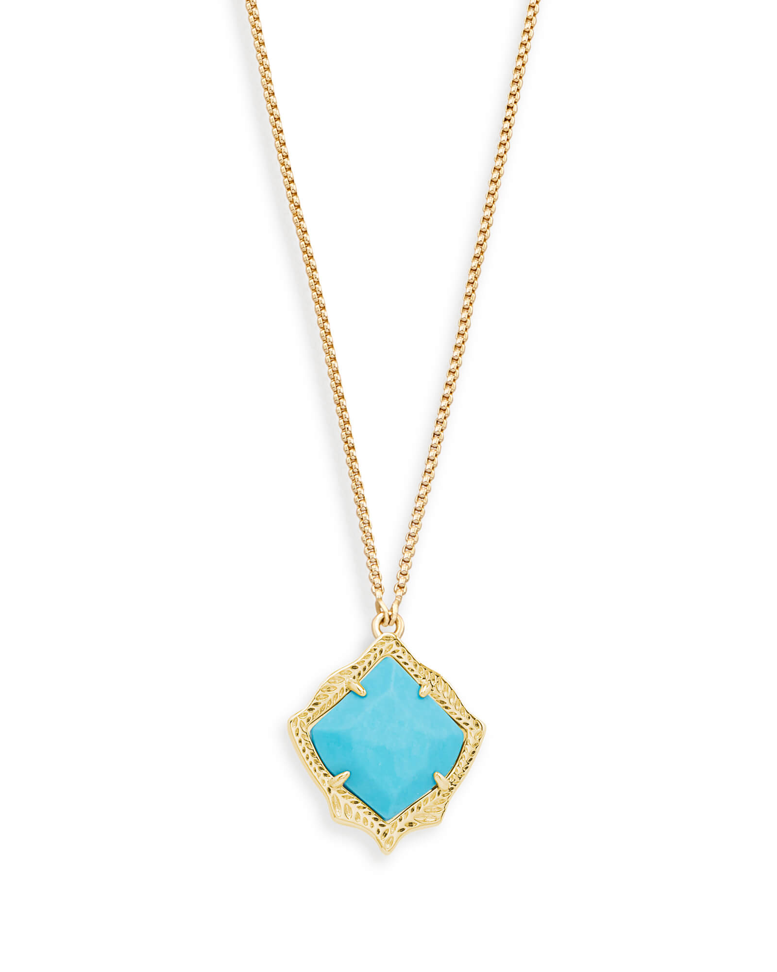 Kacey Long Pendant Necklace in Turquoise