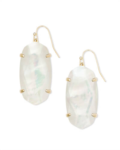 Esme Gold Drop Earrings In Ivory Pearl