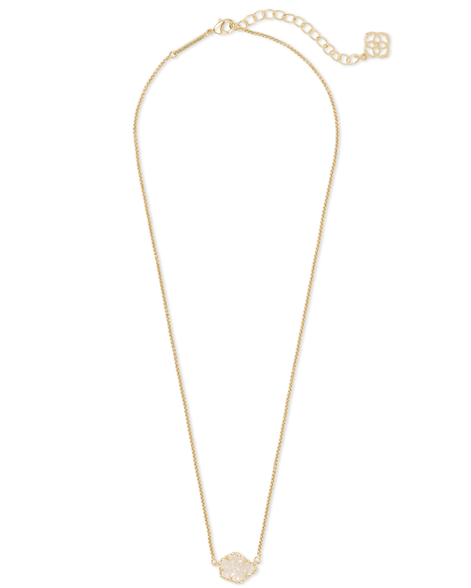 Tess Gold Pendant Necklace in Iridescent Drusy