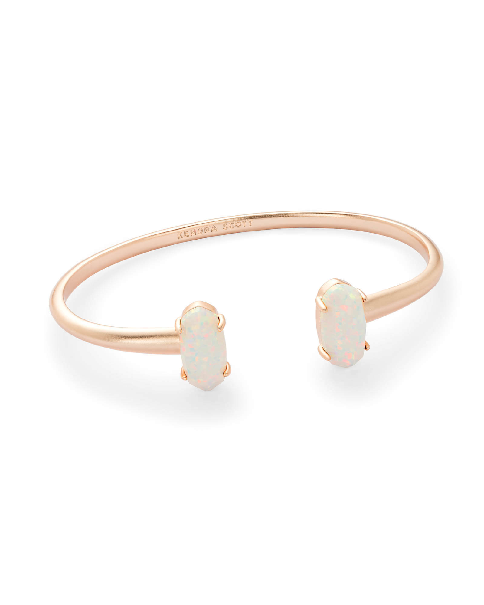 Edie Rose Gold Cuff Bracelet in White Kyocera Opal