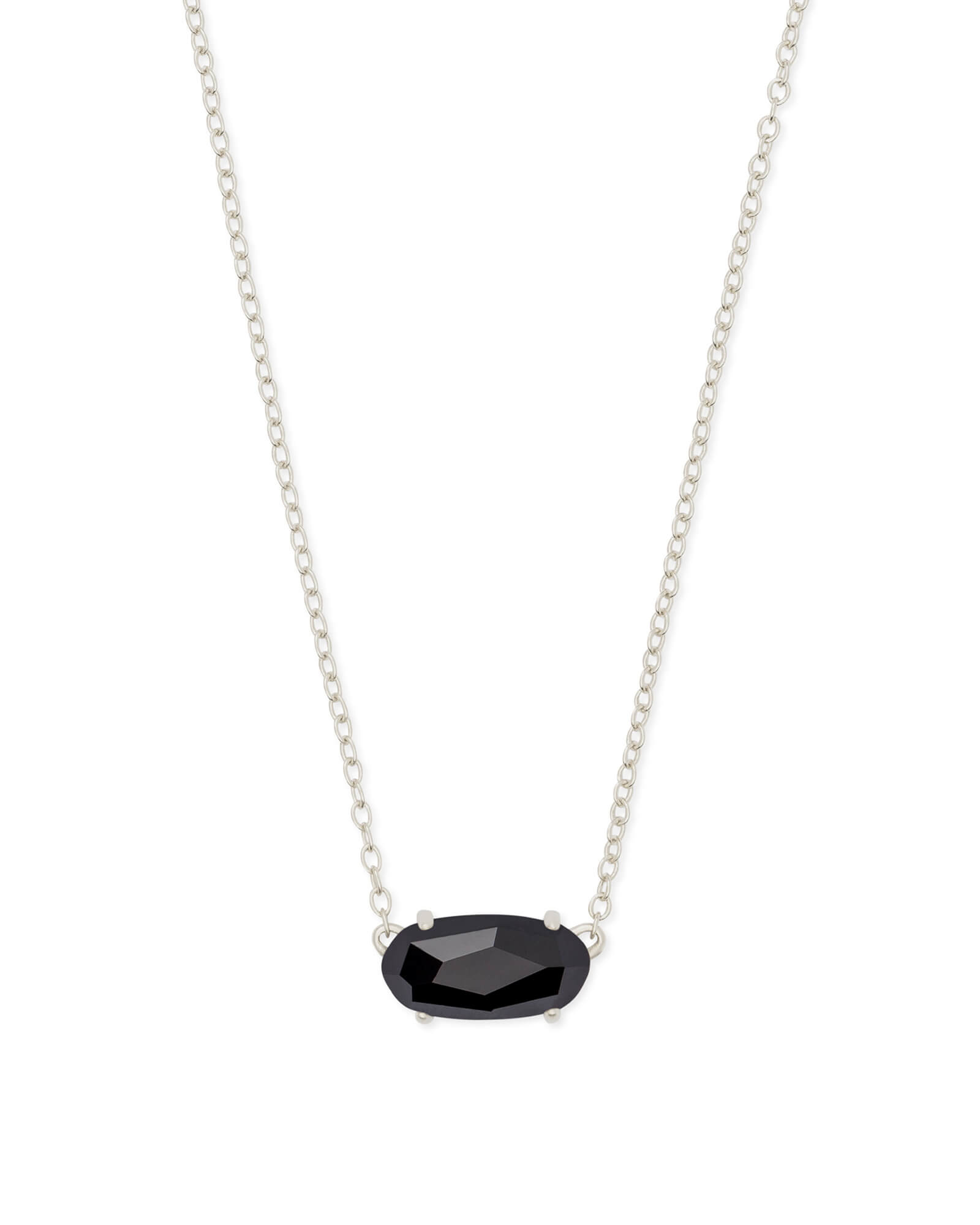 Ever Silver Pendant Necklace in Black Opaque Glass