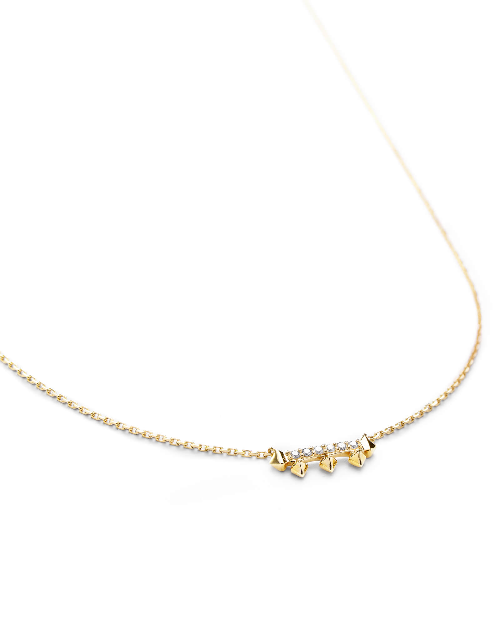 Katy Pendant Necklace in White Diamond and 14k Yellow Gold