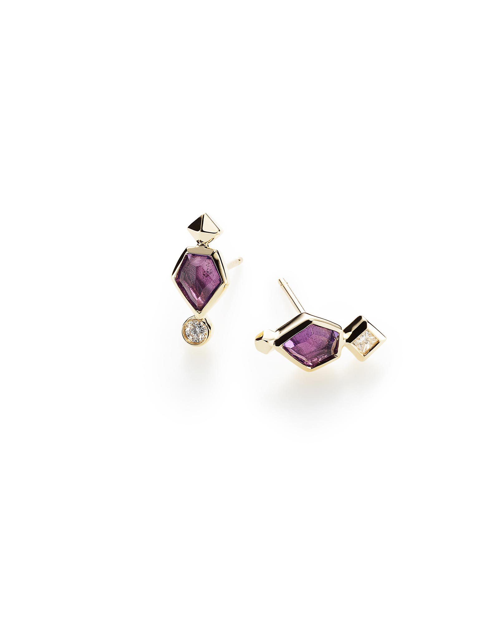 Bonnie Stud Earrings in Amethyst and 14k Yellow Gold