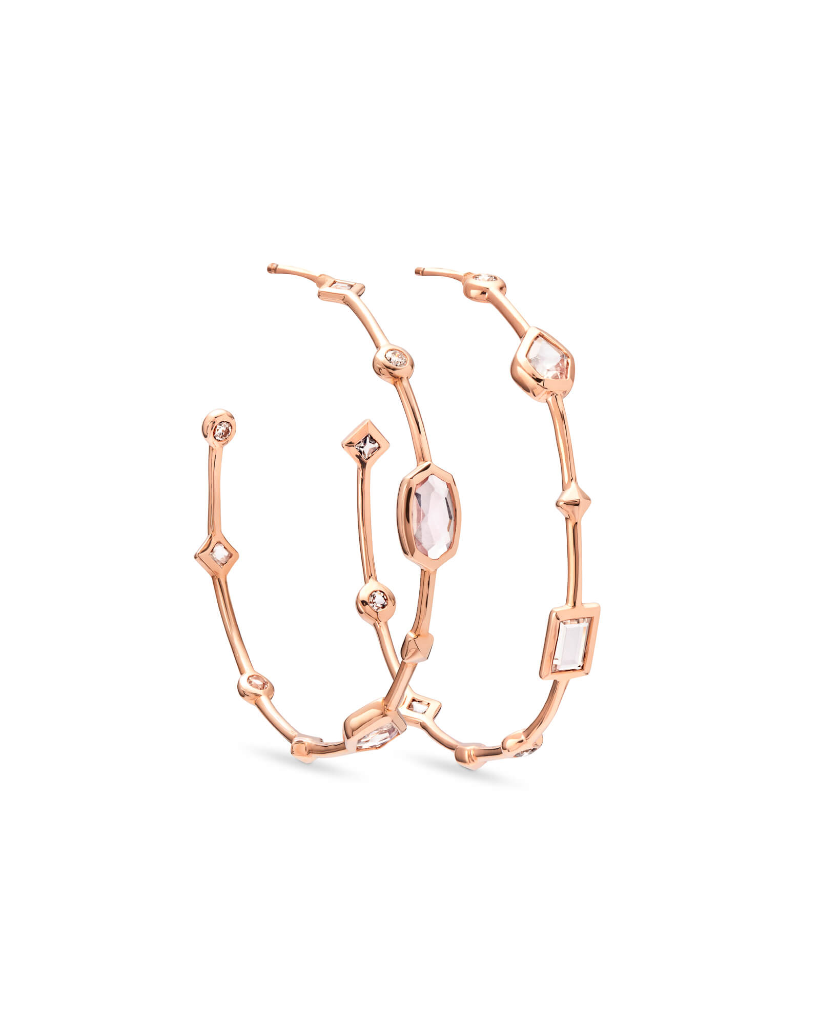 Mei 14k Rose Gold Hoop Earrings in Neutral Gemstone Mix