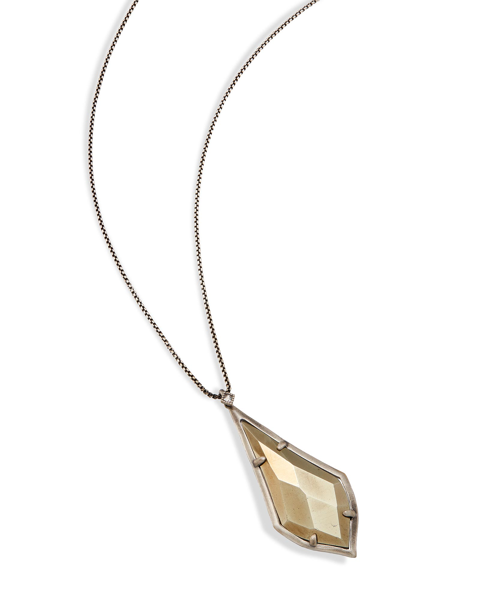 Damon Long Pendant Necklace in Pyrite