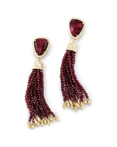 Blossom Statement Earrings in Bordeaux Tiger's Eye