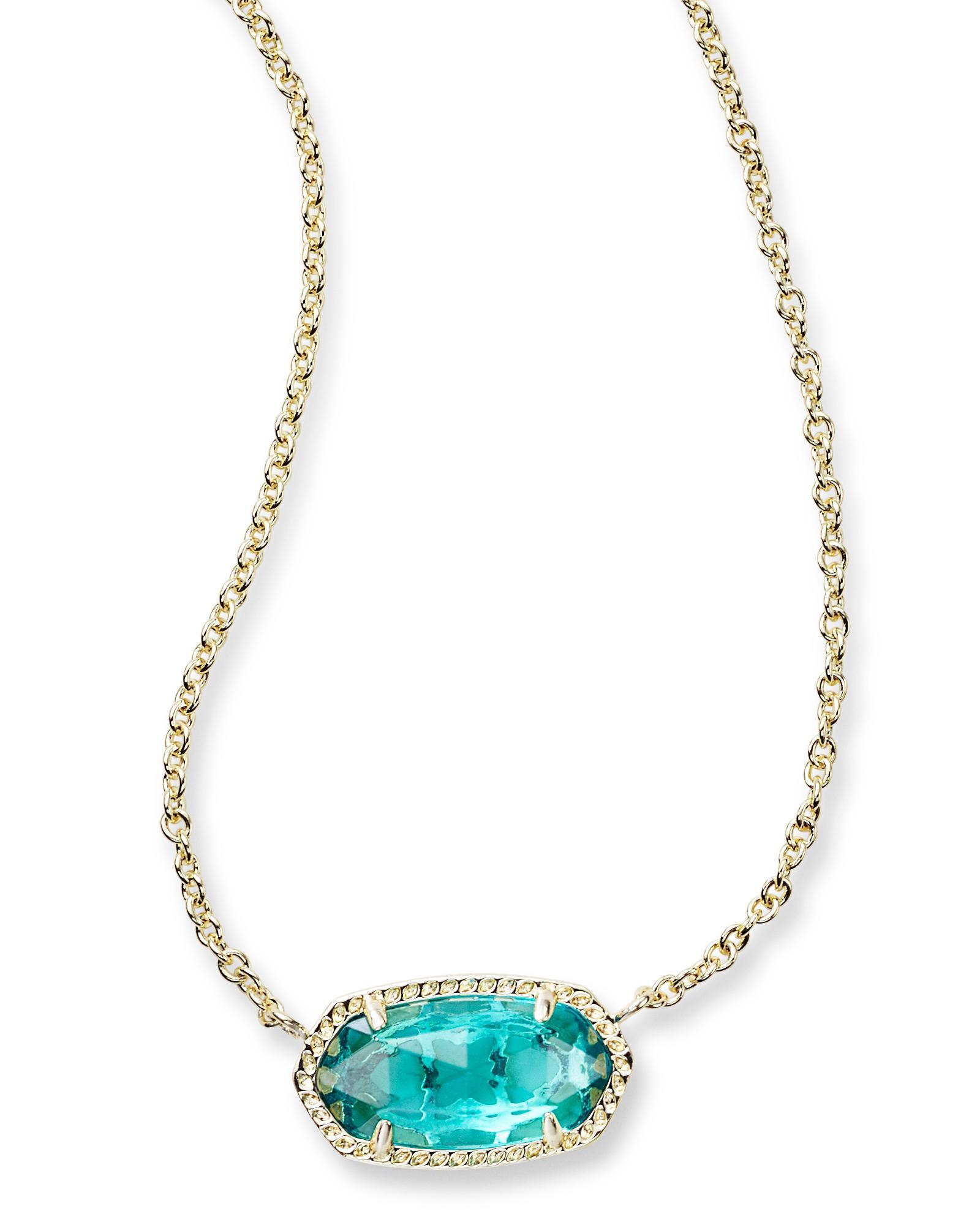 Elisa gold pendant necklace in london blue kendra scott for Kendra scott fine jewelry