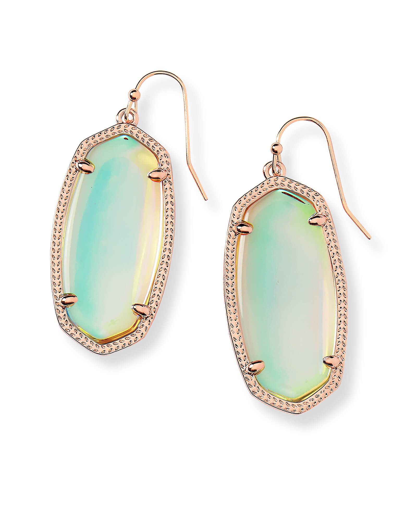 Elle Rose Gold Drop Earrings in Dichroic Glass