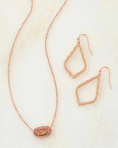 Sophia Earrings and Elisa Necklace Set in Rose Gold