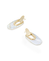 Kailyn Gold Drop Earrings in Ivory Mother-of-Pearl