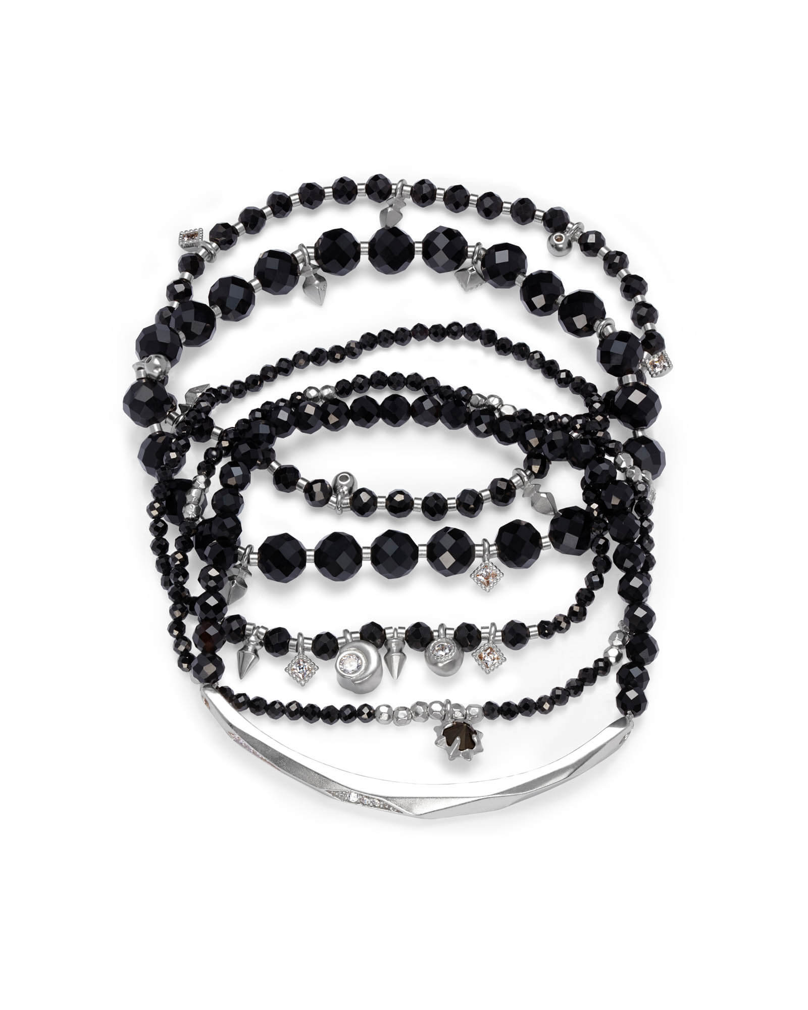 Supak Silver Beaded Bracelet Set in Black Opaque Glass