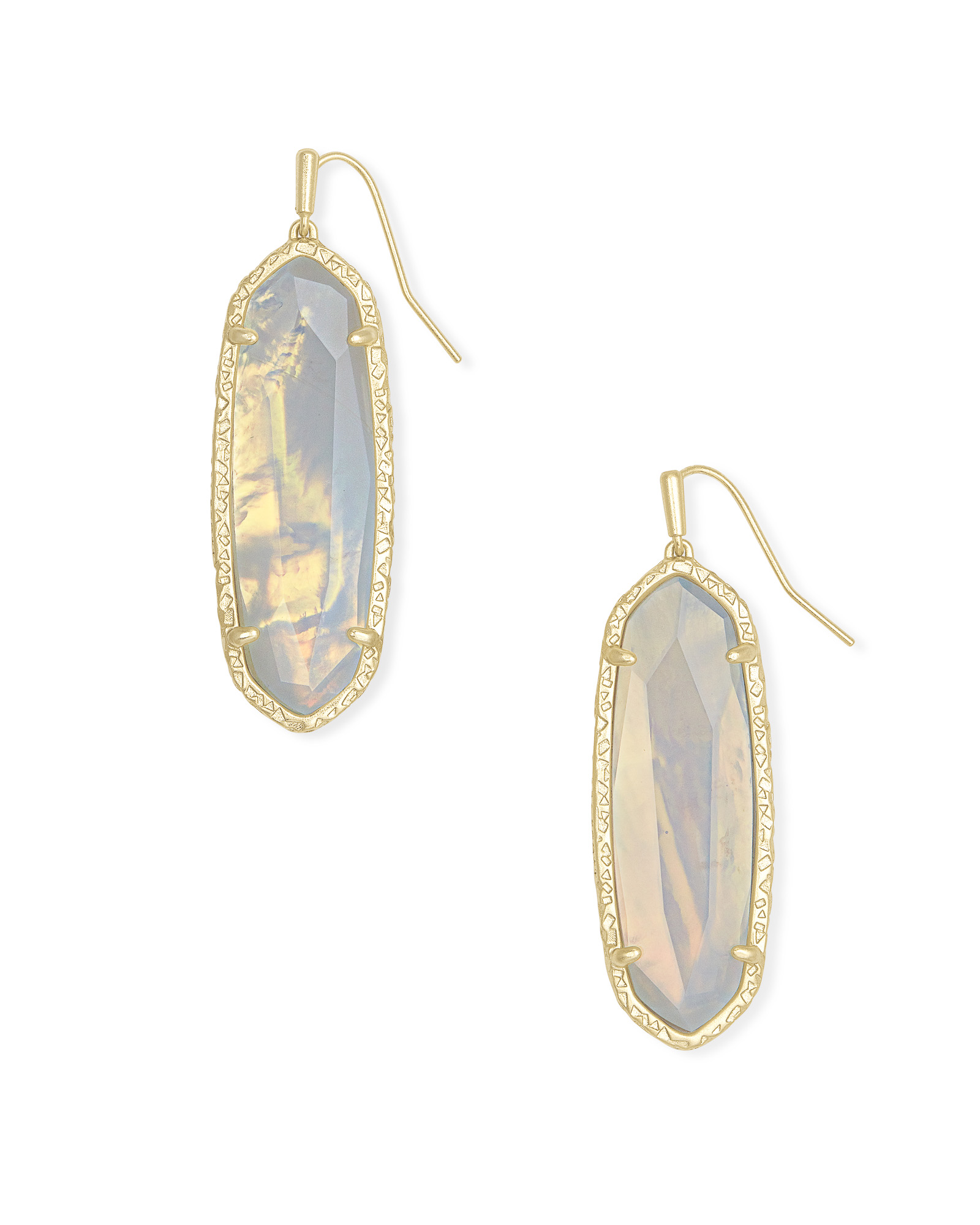 Layla Gold Drop Earrings in Opalite Illusion