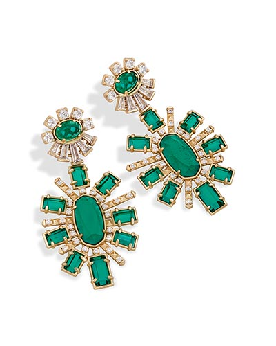 Glenda Statement Earrings in Emerald Glass