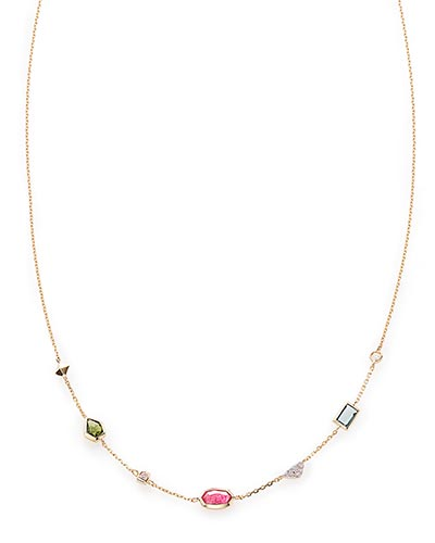 Alina Choker Necklace in Multi Gemstone Mix and 14k Yellow Gold