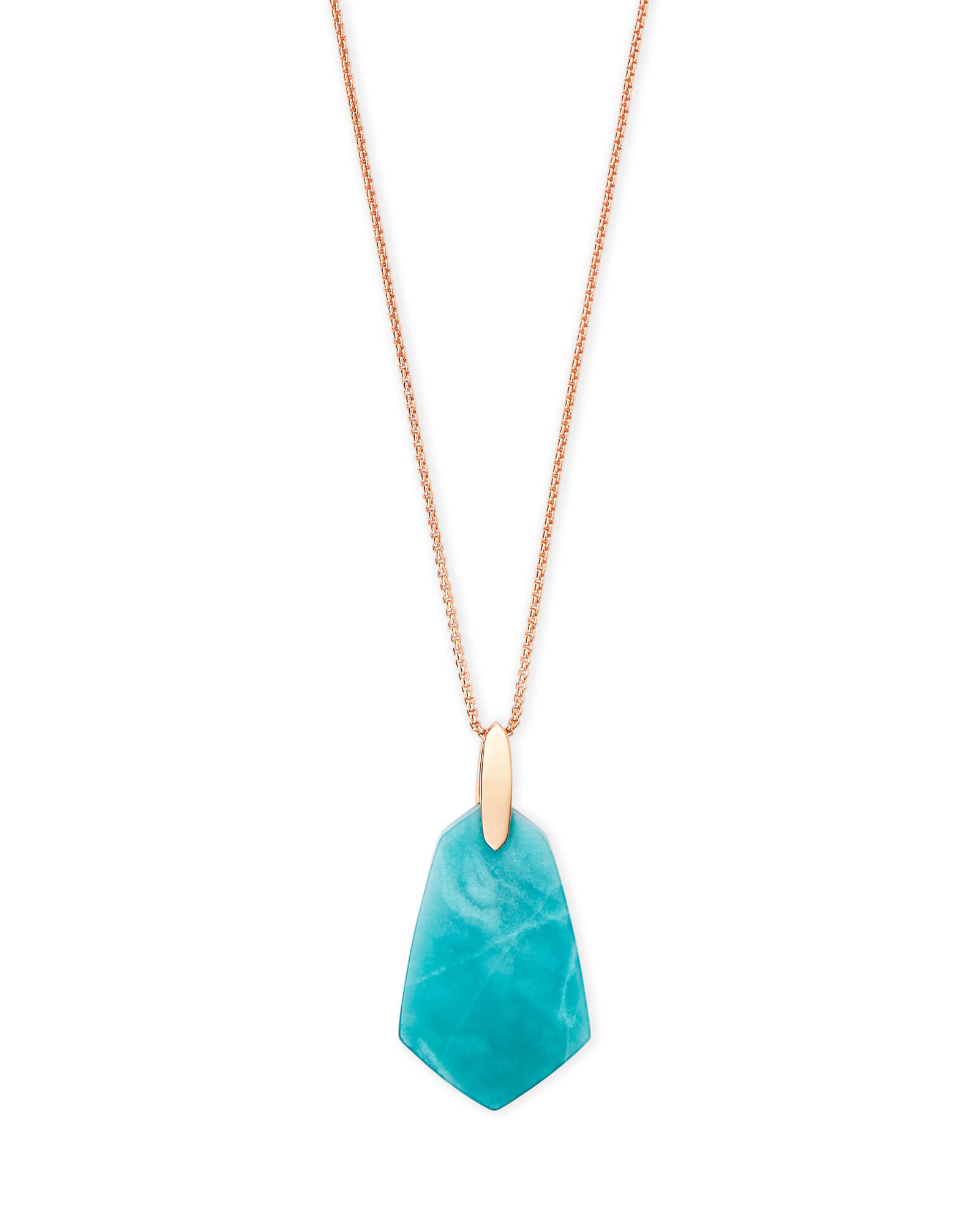 Cam Rose Gold Long Pendant Necklace in Teal Quartzite